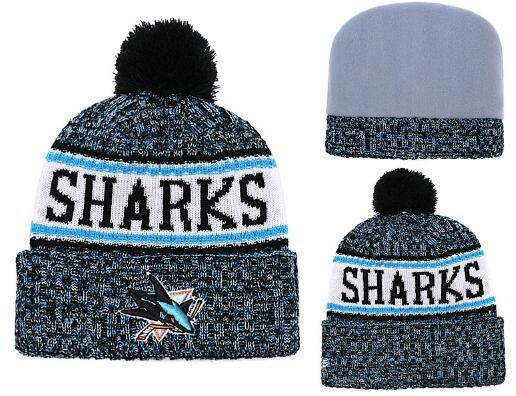 Discount SHARKS Beanie SAN JOSE hat Sideline Cold Weather Graphite Official Revers Sport Knit Hat All Team winter Knitted Wool Skull Cap
