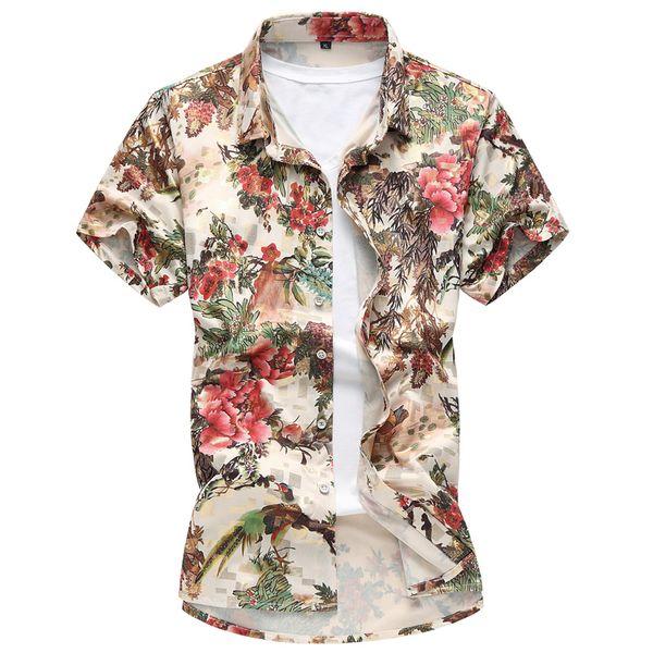 Moda Floral Impresso Camisas 2018 Verão Camisas Da Praia Dos Homens de estilo Chinês casual manga Curta Havaí Turn-down Collar Tops