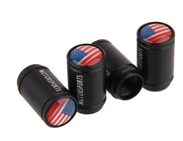 car styling in lega di alluminio car tire valvola della gomma tappo ruota valvola stelo cap fit per tutte le auto bandiera di colore nero logo