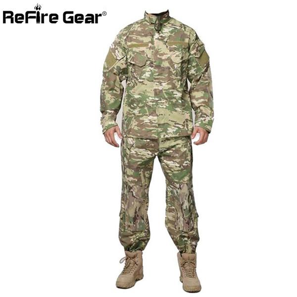 ReFire Gear RU US Army Camouflage Clothes Set Men Tactical Soldiers Combat Jacket Suit Multicam Camo Uniform Clothing