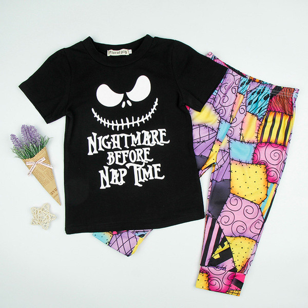 Kids Halloween T-Shirt Pants Two-piece Clothing Sets NIGHTMARE BEFORE NAP TIME Letters Romper Printed Colorful Pants 2-5T