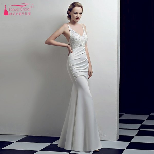 White/Black/Red/Blue/Burgundy/Green/Pink/Champagne Mermaid Bridesmaid Dresses V-Neck Backless Wedding Guest Formal Dresses Beaded Gown