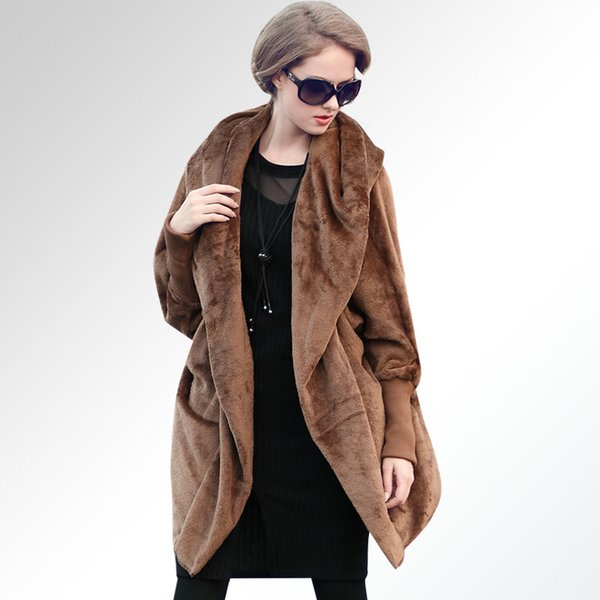 Extra large plus fat mm2017 European and American large size women's cape long sleeve hooded flannel thick warm coat burst
