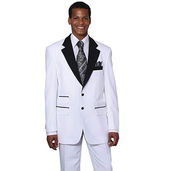 White Men Suits Wedding Suits Custom Made Two Buttons Notched Lapel Groom Tuxedos Slim Fit Best Man Blazers 3 Pieces jacket Pants Vest