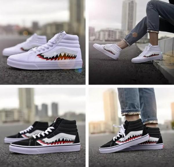 9c423a52d8dd 2018 Fashion 17SS X SHARK MOUTHS XH51 Shark Teeth High Canvas Casual Shoes  for Women Men Black White Old Skool Outdoor Sneakers EUR 36-44