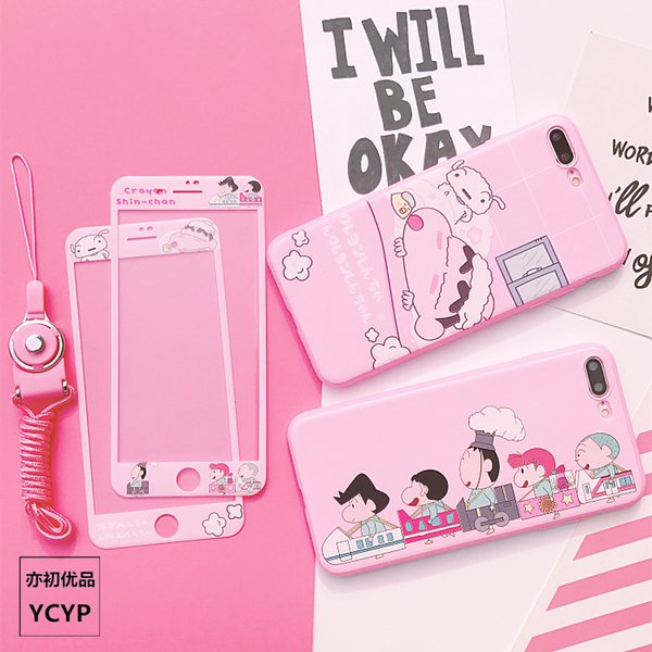 For iphone XS Crayon Shin Chan Case +Tempered Glass Screen film ,Pink Sailor Moon case for iphone X 6 6S plus 7 7plus 8 8plus
