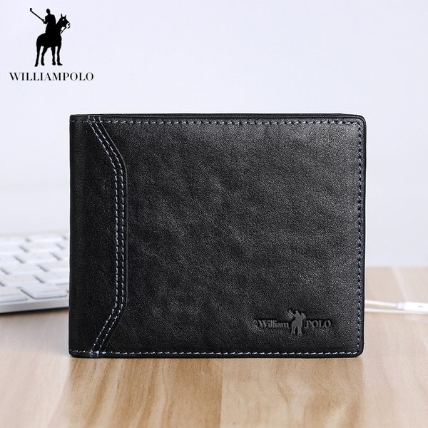 WILLIAMPOLO Vintage Short Wallet Men Genuine Leather Bifold Purse Thin Slim Wallet Cowskin Small Pouch For Man