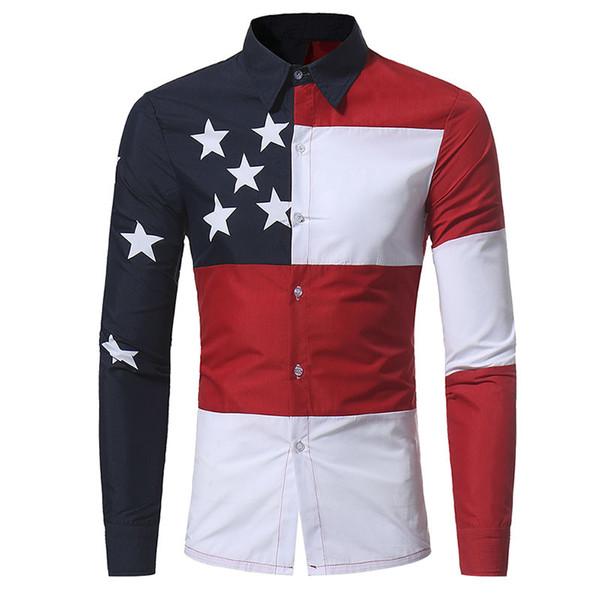 U.S.A. Patrón de la bandera americana Patchwork Camisas Marca-ropa Camisas de vestir para hombre Manga larga Slim Fit Casual Hombre Chemise homme