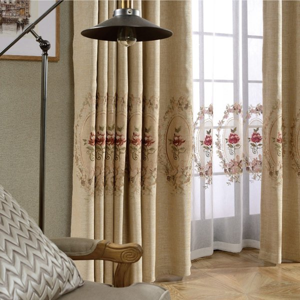 Modern minimalist all blackout finished curtain fabric solid color cotton linen linen embroidery yarn living room bedroom bay window