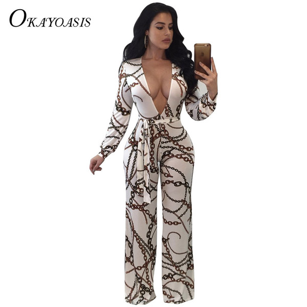 OKAYWomen Rompers Jumpsuits Chain Printed Vintage Wide Leg Jumpsuit Bow Sashes Women Overalls Long Sleeve Party Club Pants