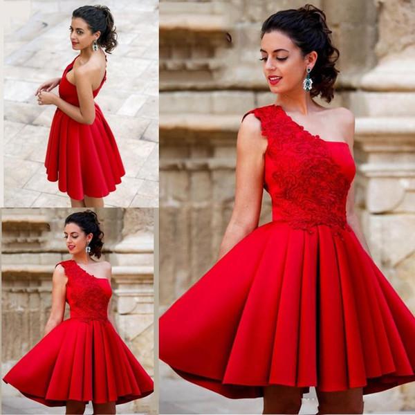 Chegada nova Red Mini Curto A Linha Homecoming Vestidos de Um Ombro Bonito de Cetim Vestidos de Festa de Formatura Doce 16 Vestidos