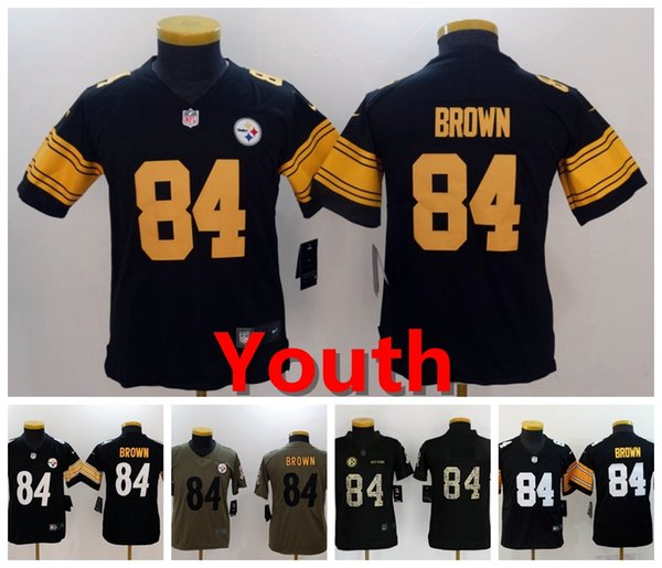 san francisco 4257e f885d 2018 2019 Youth 84 Antonio Brown Pittsburgh Jersey Steelers Kids Football  Jerseys Stitched Embrodery Steelers Antonio Brown Boys Football Shirts From  ...