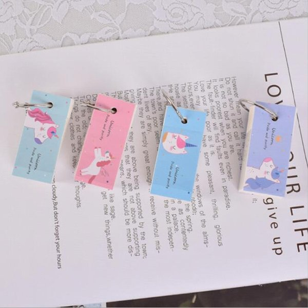 Rainbow Unicon Memo Pad Paper Notebook Binder Ring Easy Flip Flash Cards Study Sticky Notes School Supplies Korean Stationery