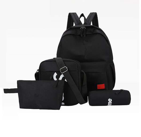 top popular New four-piece SUP brand letter backpack casual breathable canvas universal multi-purpose backpack student bag free shopping 2019