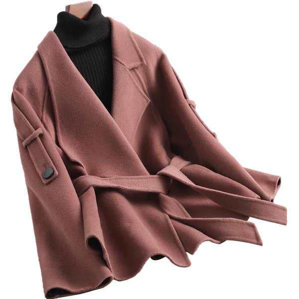 2018 Casual Woolen Coat Autumn Winter Double-sided Wool Coat For Women Short Outerwear Solid color High quality Wool Jacket