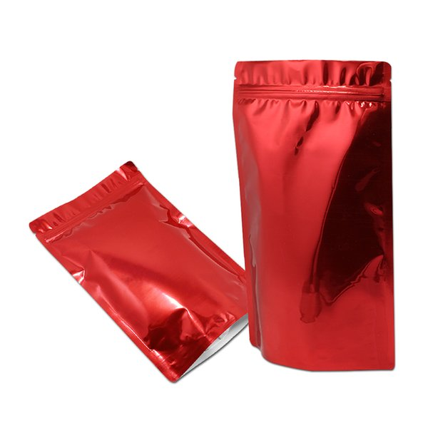 18*26cm Aluminum Foil Red Stand Up Metallic Ziplock Bag Zipper Resealable Packaging Doypack Food Coffee Storage Pouch Mylar