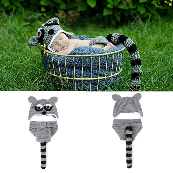 Leopard Infant Baby Boy Hat and Diaper Set Newborn Photography Props Crochet Baby Animal Costume Halloween Outfit Newborn Clothing