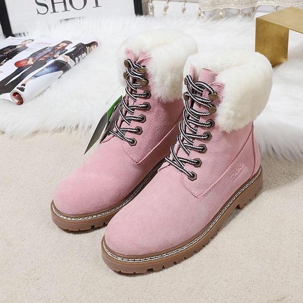VGG Luxury Leather Snow Boots for Women Winter Thick Warm Cotton Shoes Real Cotton Womens Shoes with Origin Box Fashion Ankle Snow Boots