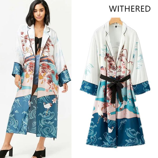 Withered 2018 Trench coat casaco feminino Capes kimono print Scenery sashes open stitch women bomber coat Trench plus size 0830