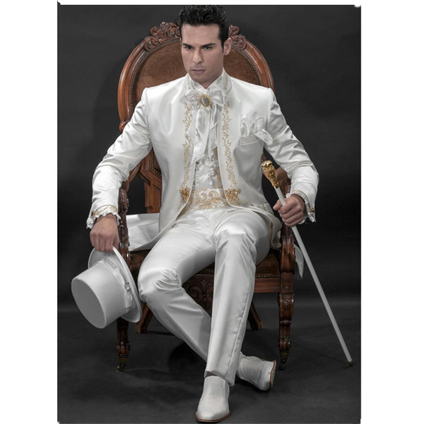 Men's Designer Suit Groom Suit White Wedding Groom Gold Lace Embroidered Custom (Jacket + Pants + Girdle)