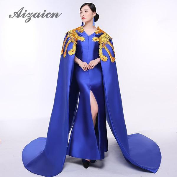 Royal Blue Broderie De Luxe Robe De Soirée Élégante Orientale De Bal Robes De Mode Femmes Montre Or Phoenix Cheongsam Longue Trailing