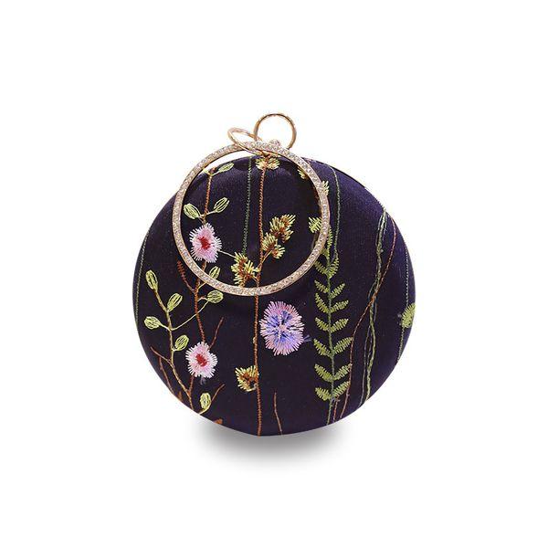 Fashion embroidery rose finger pattern box clutch bag casual ladies chain purse shoulder bag handbag female flap evening bagY100