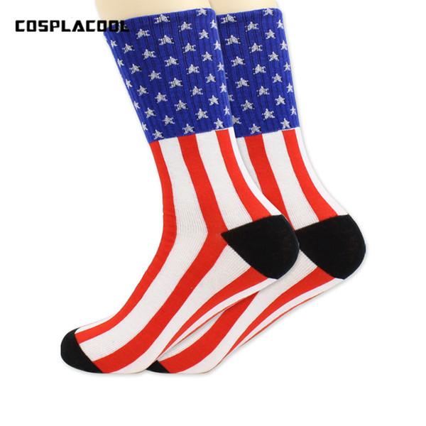 2017 Yeni Avrupa Birleşik Devletleri yüksek kaliteli Nefes erkekler pamuk çorap ABD bayrağı çizgili pamuklu çorap ve yıldız bayrağı