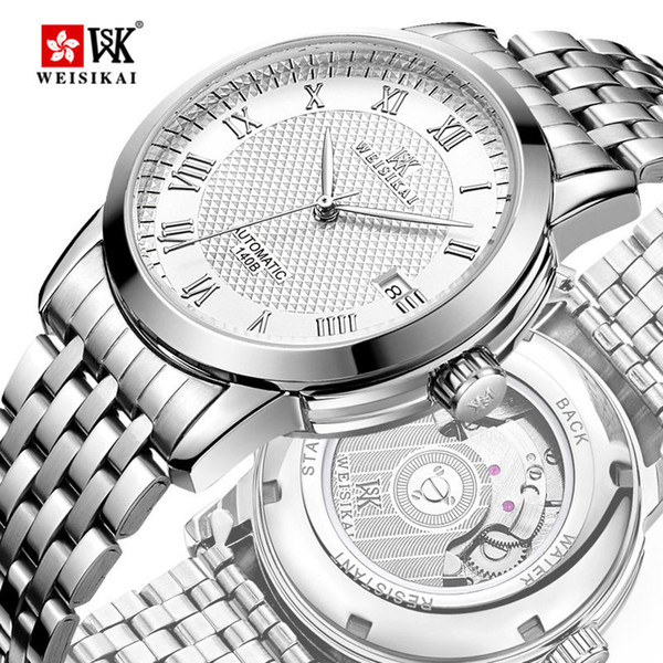 WEISIKAI Automatic Mens Mens Orologi Luxury Business Date Orologio da polso maschile in acciaio inossidabile Fashion Watch impermeabile