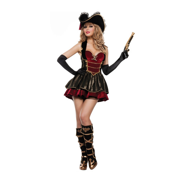 Nuove donne sexy Pirate Costume Halloween Fancy Party Dress Carnival Costumi adulti pirata di alta qualità Cosplay