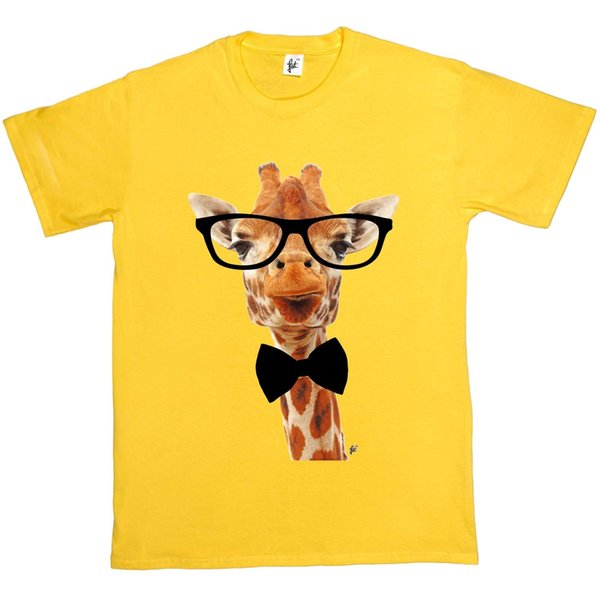 Long Neck Giraffe Wears Hipster Glasses & Bow Tie Mens T-Shirt Funny free shipping Unisex Casual tee gift