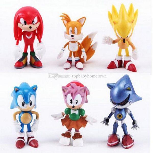 Sonic the hedgehog figuras de acción de juguete sonic personajes de Anime figura juguetes 6 unids / set DHL envío gratis C4331