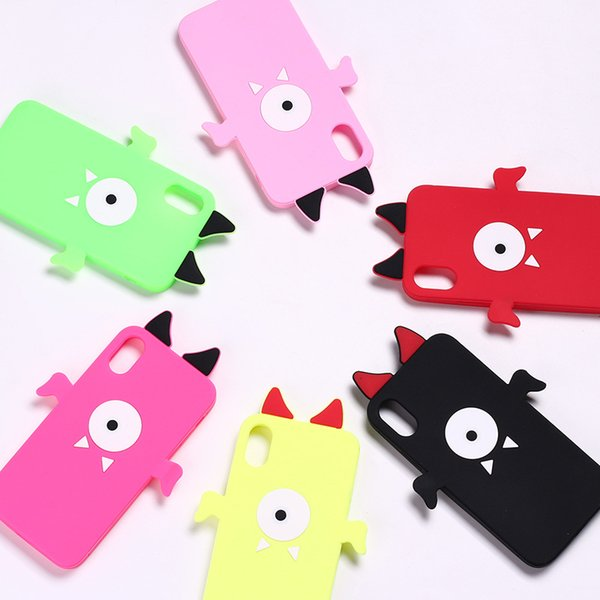 3D Cute Little Devil Silicone Phone Case for iPhone X 6 6S 7 8 Plus Cell Phone Back Cover iphone Cases Shell