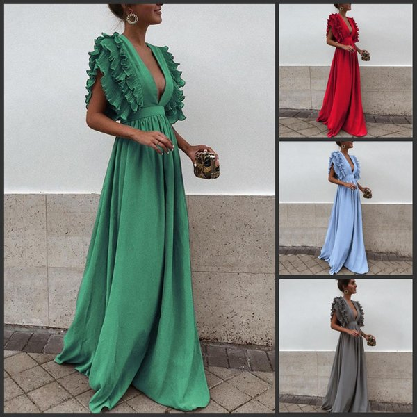 2018 Charming Long Chiffon Pleat A line Evening Dresses Sexy Deep v Neck Tiered Cap Sleeves Floor Length Fashion Prom Dress for Party