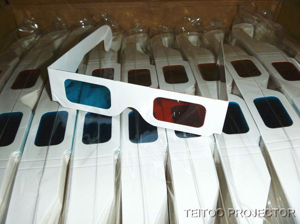 20 pcs/lot Paper 3D Glasses, Anaglyph Red Cyan Red Blue 3D Glass for LCD LED DLP Smart Portable Home Theater Projector Beamer