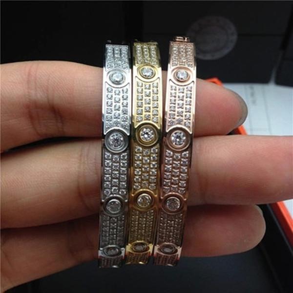 Alta qualità amore Bracciale Bangles acciaio 316L titanio pieno di lusso con cz braccialetto di pietra puleiras amore braccialetto per le donne uomini