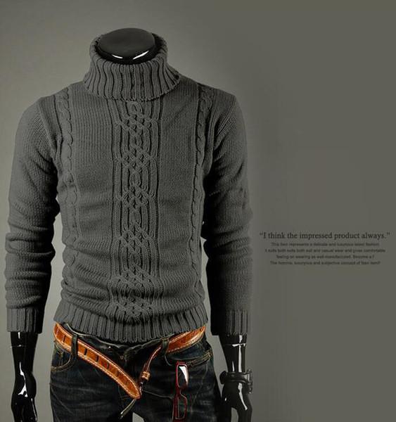 남성 디자이너 스웨터 겨울 따뜻한 스웨터 불규칙한 트위스트 남자의 터틀넥 스웨터 두꺼운 두꺼운 패션 남자 의류 남성용 스웨터