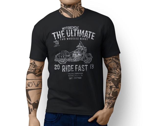 Rh Ultimate Indian Chief Винтаж Вдохновленный Мотоцикл Искусство Футболка С Коротким Рукавом Хлопковые Футболки Мужская Одежда