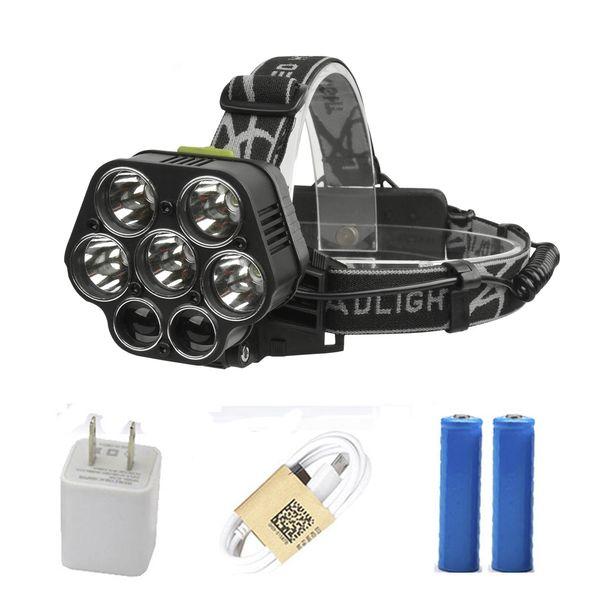 Rechargeable par USB CREE XML-5 * T6 7 lampe frontale pour lampe frontale à 40000 lumens LED lampe de poche blanc rouge vert bleu lampe frontale à 2 * 18650