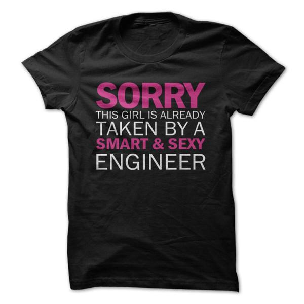 T-shirt da uomo retrò in cotone 100% Tee Fashion T-shirt da uomo corto Spiacente ragazza scattata dall'ingegnere T-shirt