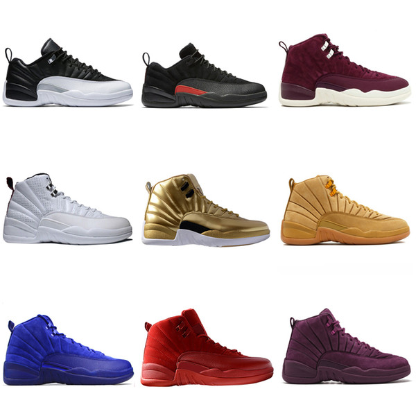 12 12s men basketball shoes Wheat Dark Grey Bordeaux Flu Game The Master Taxi Playoffs French Blue Barons trainers Sports sneakers designer
