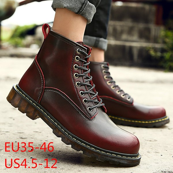 Plu size 35-46 Free shipping 2018 Quality Genuine Leather shoes men Boots High Top Motorcycle Autumn Winter shoes Lover snow Boots