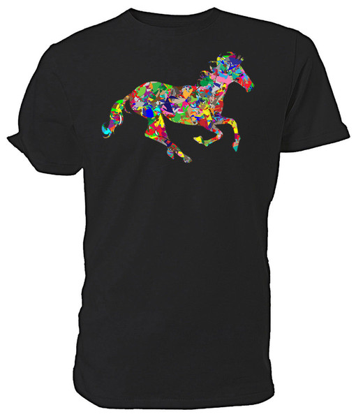 Psychedelic Horse T shirt - Choice of size & colours. 2017 Short Sleeve Cotton T Shirts Man Clothing 2018 New Short Sleeve Casual T-Shirt
