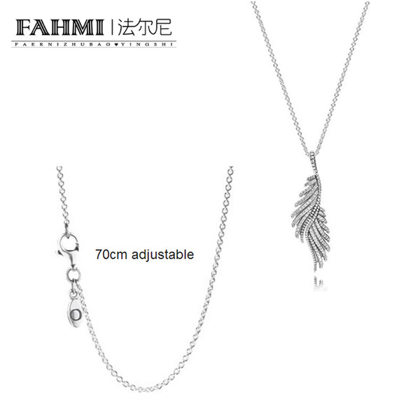 FAHMI 100% 925 Sterling Silver Charm SILVER CHAIN NECKLACE Necklace Shimmering Phoenix Feather Silver necklace pendant Ladies Jewelry