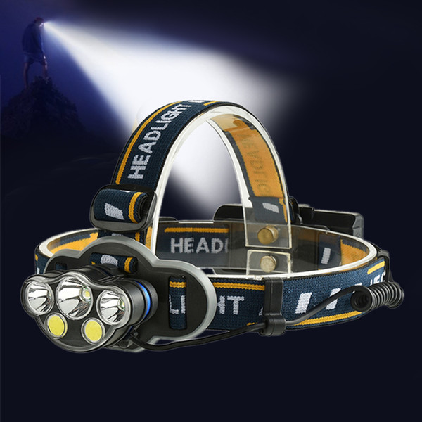 5 LED T6 COB Rechargeable Headlamp Headlight 8 Modes Light 90° Adjustable Forehead Head Light Surper Bright Non-zoomable Head Lantern 18650