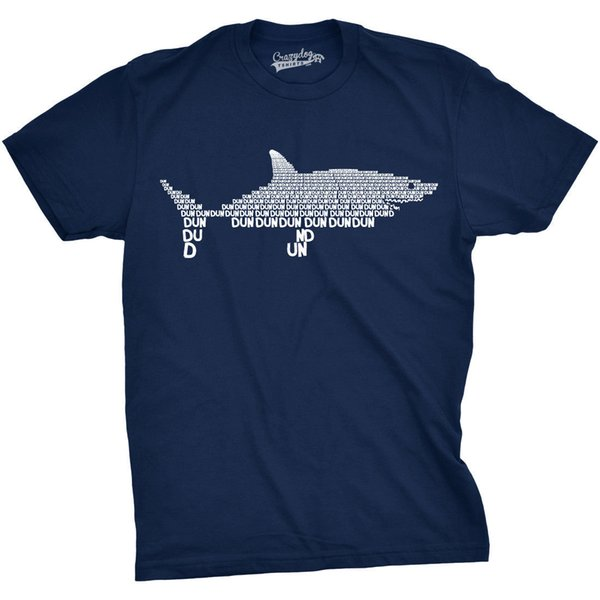 Mens Dun Dun Shark Theme T-Shirt Cool Graphic Great White Music Text Tee Letter Printing Printed Pure Cotton Men'S