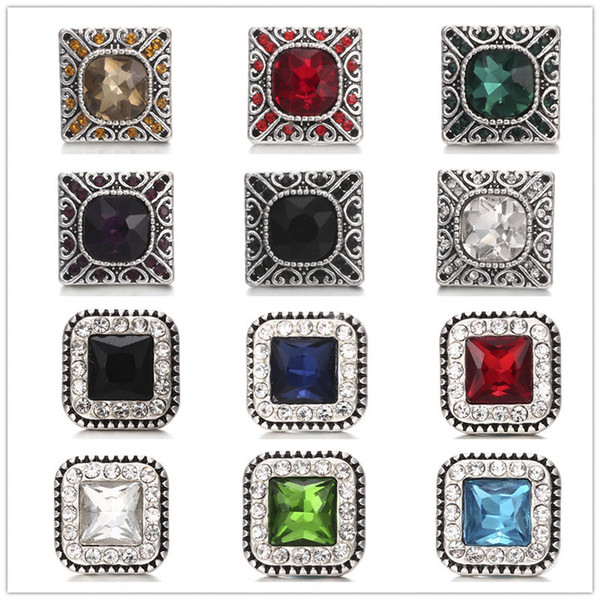 best selling Inlay Square Crystal Rhinestone Snap Buttons 18mm Metal Decorative Button charms for DIY Snap Jewelry Findings