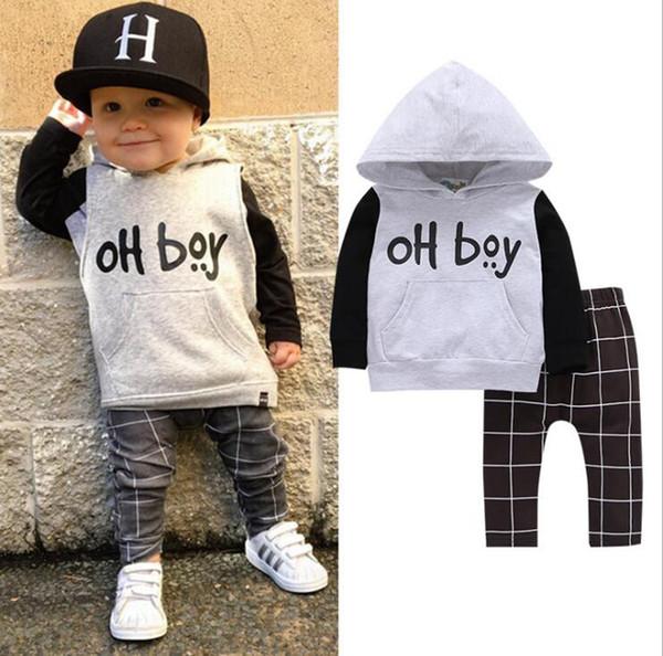 Bebê Meninos Roupas Definir Oh Boy Impressão Moletom Com Capuz Calças 2 Pcs Set Criança Manga Longa Tops Calças Roupas Crianças Designer Roupas 1-3 T YL832