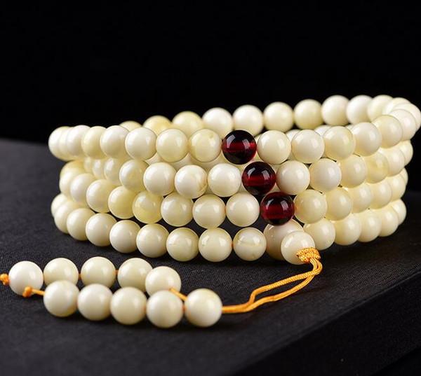Baltic White nectar bracelets minerai blanc cire d'abeille 108 perles bracelets hommes et femmes collier chaîne pull chaîne