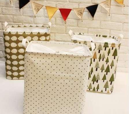 Moda 35 * 25 * 40 CM único algodón de lino cesta de lavandería cesta de almacenamiento plegable impermeable caja de almacenamiento organizador de tela, S3078
