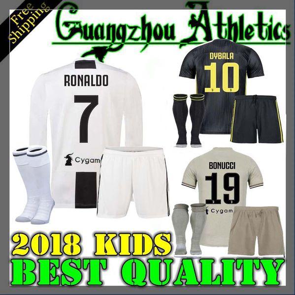 buy popular 4cbfa 1454f 2019 18 19 Juventus RONALDO HIGUAIN Long Sleeve Kids Jersey 2018 CUADRADO  DYBALA MARCHISIO BONUCCI MANDZUKIC CHIELLINI MARCHISIO FOOTBALL Shirts From  ...